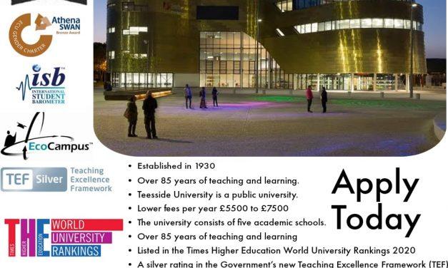 Apply studies in Teesside University